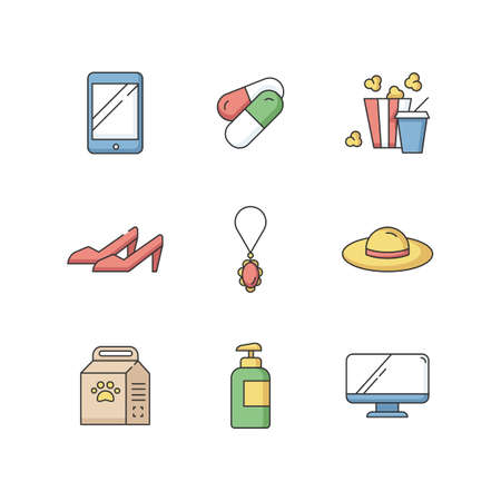 Online shopping RGB color icons set. Digital electronic technology. Pharmaceutical products. Fashion and beauty. Pet care food. Fastfood for entertainment. Isolated vector illustrations Vektorgrafik
