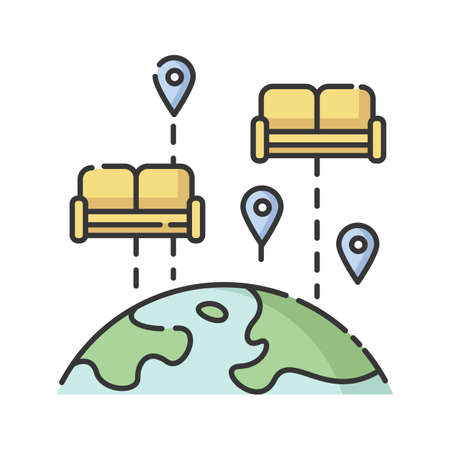 Budget tourism. Finding affordable accommodation in travel. Hospitality exchange. World map with couches isolated vector illustration