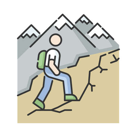 Trekking RGB color icon. Nature tourism, backpacking. Outdoor recreational activity, challenging hiking trail. Tourist with backpack. Isolated vector illustration
