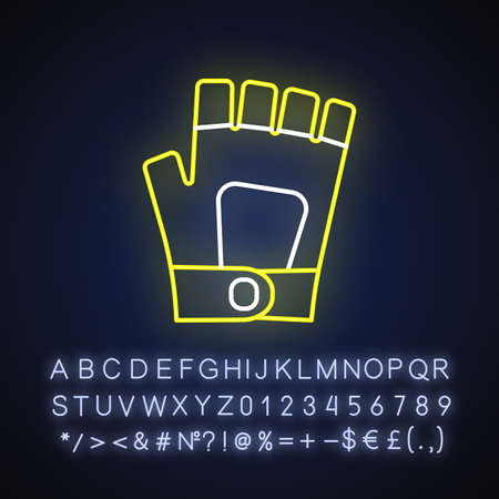 Gym gloves neon light icon. Outer glowing effect. Professional sportswear. Fitness equipment sign with alphabet, numbers and symbols. Workout gloves vector isolated RGB color illustration