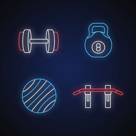 Weight training neon light icons set. Exercise ball, dumbbell, pull up bar and kettlebell signs with outer glowing effect. Gym equipment for fitness. Vector isolated RGB color illustrations Illustration