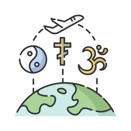 Religious tourism RGB color icon. Spiritual journey, pilgrimage. Exploring worlds religions. Taoism, christianity and hinduism signs isolated vector illustration