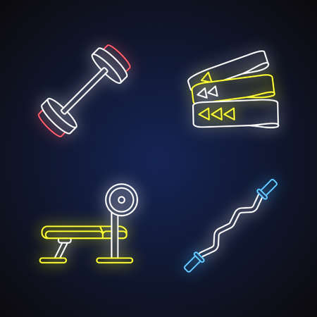 Bodybuilding neon light icons set. Barbell, resistance bands, weight bench and curl bar signs with outer glowing effect. Equipment for strength training. Vector isolated RGB color illustrations