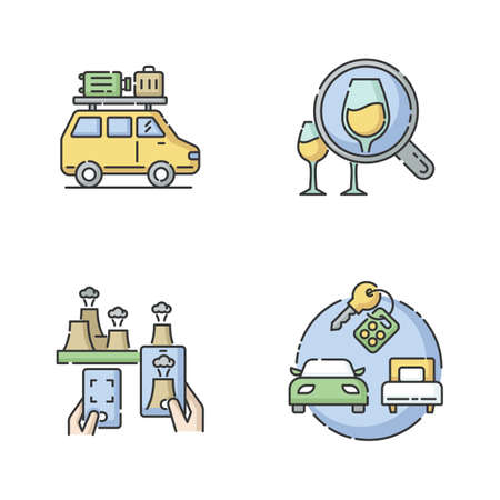 Types of tourism RGB color icons set. Road trip, wine tasting journey, atomic tourism and package tours. Recreation on holidays. Isolated vector illustrations