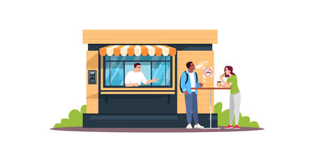 Guy smoking next to snack bar semi flat RGB color vector illustration. Couple having lunch. Snackbar attendant reproving for no smoking rule breach. Isolated cartoon characters on white background