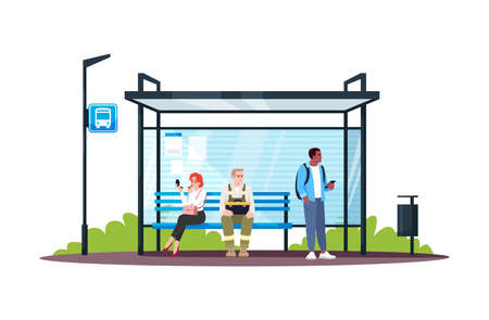 People sitting at bus station semi flat RGB color vector illustration. Passengers waiting for a public transport. Commuting and traveling. Isolated cartoon characters on white background