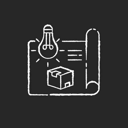 Product concept chalk white icon on black background. New invention, creative startup, innovative project. Drafting, engineering. Industrial production plan. Isolated vector chalkboard illustration Stock Illustratie