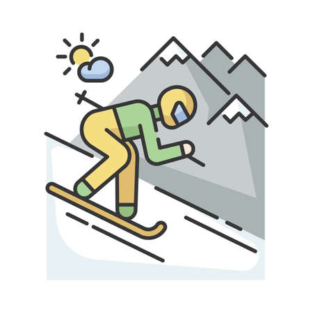 Skiing RGB color icon. Winter vacation, seasonal extreme tourism. Active recreation at alpine ski resort. Sportsman skiing downhill isolated vector illustration