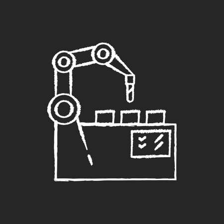 Production automation chalk white icon on black background. Industrial revolution, manufacturing process innovation. Mechanical assembly line. Robot arm isolated vector chalkboard illustration
