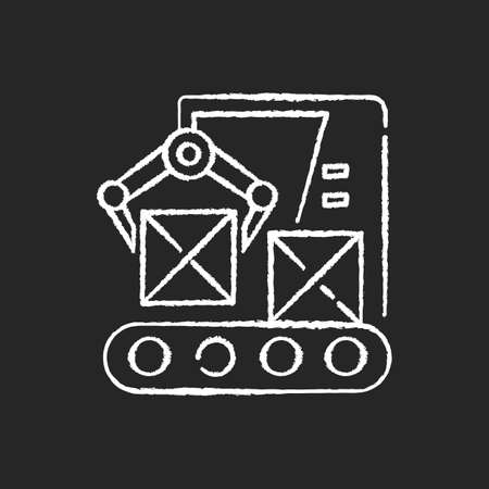 Production line chalk white icon on black background. Automated manufacturing process, modern industrial technology. Boxes on conveyor belt with robot arm isolated vector chalkboard illustrations Vettoriali