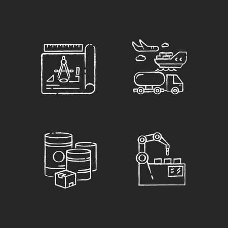 Industrial production chalk white icons set on black background. Raw materials, product drafting, automation and shipping. manufacturing and distribution. Isolated vector chalkboard illustrations