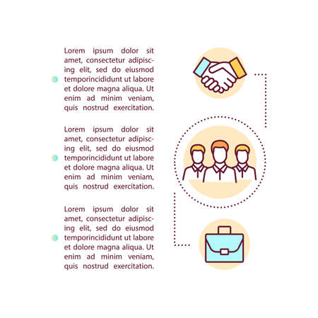Business corporation concept icon with text. PPT page vector template. Partnership and coworking. Enterprise coworkers. Brochure, magazine, booklet design element with linear illustrations