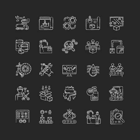 Production process chalk white icons set on black background. Manufacturing industry. Commercial product development and mass production technologies. Isolated vector chalkboard illustrations