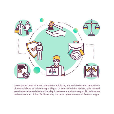 Corporate lawyer concept icon with text. PPT page vector template. Legal aid. Assessing partnership. Commercial law expert. Brochure, magazine, booklet design element with linear illustrations Illustration