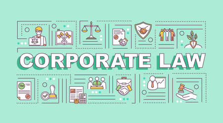 Corporate law word concepts banner. Corporation governance. Infographics with linear icons on light aquamarine background. Isolated typography. Vector outline RGB color illustration Illustration