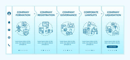 Corporation life cycle onboarding vector template. Company governance and liquidation. Corporate law. Responsive mobile website with icons. Webpage walkthrough step screens. RGB color concept Illustration