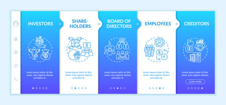 Corporate players onboarding vector template. Board of directors and investors. Employees. Responsive mobile website with icons. Webpage walkthrough step screens. RGB color concept
