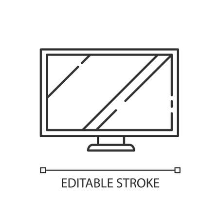TV wide screen linear icon. Computer monitor. Electronic device. Television and entertainment. Thin line customizable illustration. Contour symbol. Vector isolated outline drawing. Editable stroke