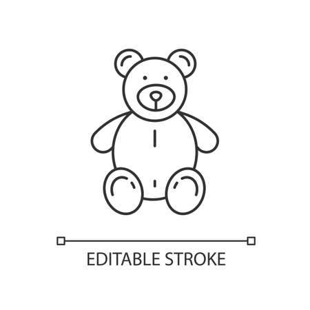 Stuffed bear linear icon. Plush animal for kids. Children soft toy. Furry doll for child. Thin line customizable illustration. Contour symbol. Vector isolated outline drawing. Editable stroke