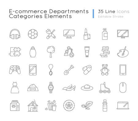 E commerce departments linear icons set. Electronic devices. Personal beauty and health care products. Customizable thin line contour symbols. Isolated vector outline illustrations. Editable stroke