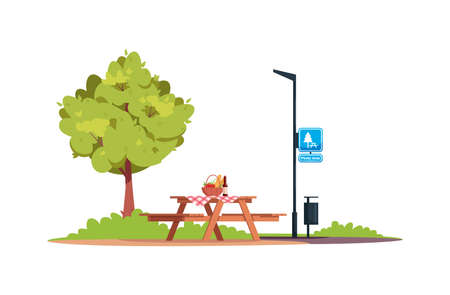 Picnic area semi flat RGB color vector illustration. Picnic table with food and bench. Outing and dining. Summer recreation area with no people. Isolated cartoon objects on white background Ilustración de vector