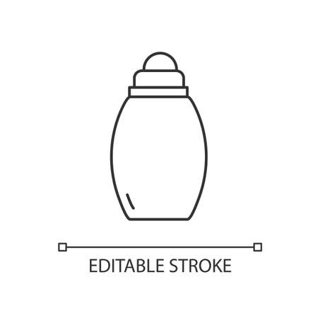Baby bottle linear icon. Feeder with milk for children. Formula for nutrition for little kid. Thin line customizable illustration. Contour symbol. Vector isolated outline drawing. Editable stroke Иллюстрация