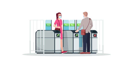 People at turnstile semi flat RGB color vector illustration. Commuters wearing face masks. Subway, metro, train station entrance security system. Isolated cartoon characters on white background