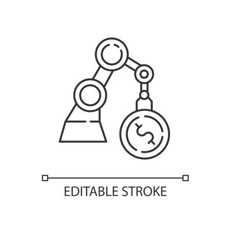 Business linear icon. Industrial production. Financial operation. Economy and banking. Thin line customizable illustration. Contour symbol. Vector isolated outline drawing. Editable stroke