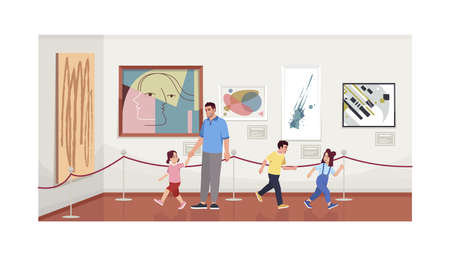 Father with children in modern art gallery semi flat vector illustration. Contemporary paintings collection. Kids watching and playing in art museum 2D cartoon characters for commercial use