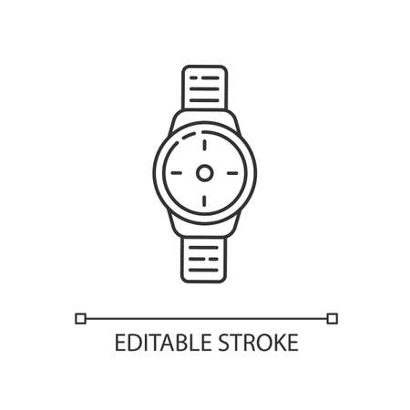Wrist watch linear icon. Male hand clock. Time on dial. Interface to timer. Businessman accessory. Thin line customizable illustration. Contour symbol. Vector isolated outline drawing. Editable stroke Vetores