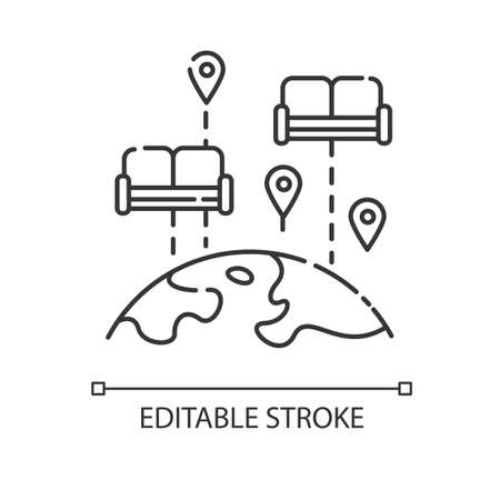 couch pixel perfect linear icon. Budget tourism thin line customizable illustration. Contour symbol. Accommodation, hospitality exchange. Vector isolated outline drawing. Editable stroke