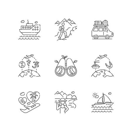 Vacation trip pixel perfect linear icons set. Active tourism, adventure travel customizable thin line contour symbols. Recreational activities. Isolated vector outline illustrations. Editable stroke