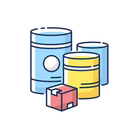 Raw materials RGB color icon. Natural resources, industrial manufacturing. Fuel and minerals storage containers. Box and barrels isolated vector illustration