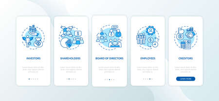 Corporation management onboarding mobile app page screen with concepts. Board of directors. Walkthrough 5 steps graphic instructions. UI vector template with RGB color illustrations