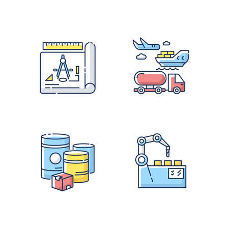 Industrial production RGB color icons set. Raw materials, product drafting, automation and shipping. manufacturing and distribution. Isolated vector illustrations