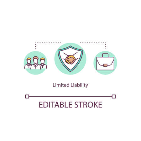 Limited liability concept icon. Business Investment and partnership. Fixed sum financial liability idea thin line illustration. Vector isolated outline RGB color drawing. Editable stroke Illusztráció