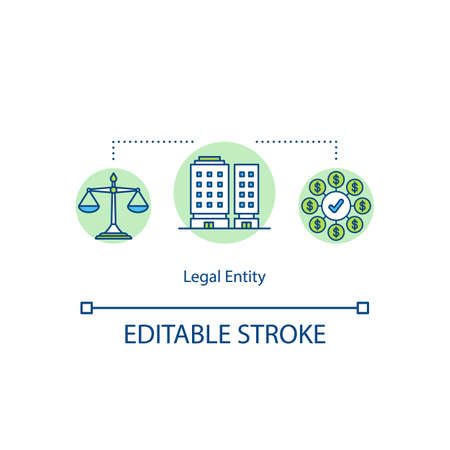 Legal entity concept icon. Notary service building. Lawyer company. Legal consulting firm idea thin line illustration. Vector isolated outline RGB color drawing. Editable stroke