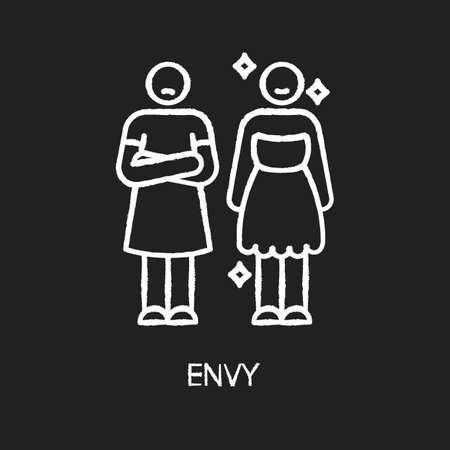 Envy chalk white icon on black background. Negative emotion, human feeling, bad personality trait. Jealousy, mental displeasure. Happy and envious person isolated vector chalkboard illustration