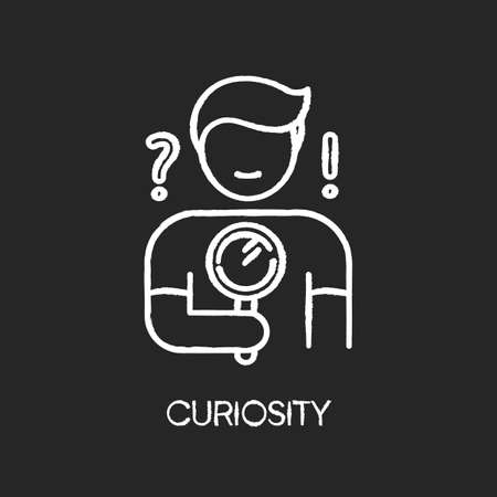 Curiosity chalk white icon on black background. Human feeling, personal quality. Search for answer, problem solution. Curious person holding magnifying glass. Isolated vector chalkboard illustration