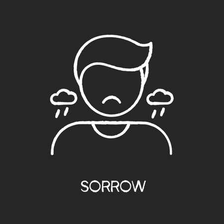 Sorrow chalk white icon on black background. Negative emotion, bad feeling. Sadness, grief and depression. Emotional stress, problem. Sorrowful, upset person isolated vector chalkboard illustration