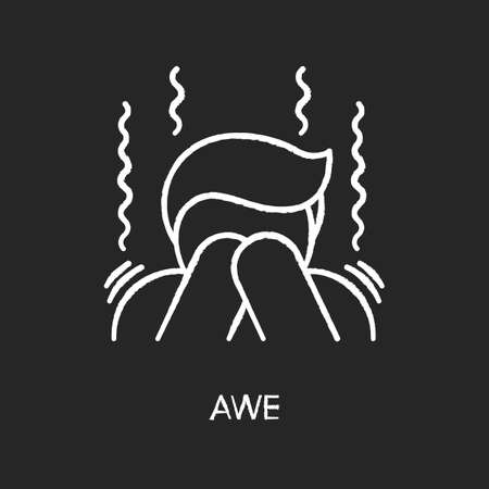 Awe chalk white icon on black background. Human feeling, emotional reaction, mental state. Surprise fear and wonder, panic attack. Trembling, shocked person isolated vector chalkboard illustration