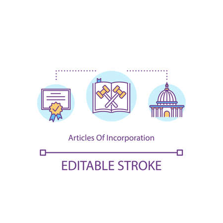 Articles of incorporation concept icon. Company registration certificate. Paper process. Corporate charter idea thin line illustration. Vector isolated outline RGB color drawing. Editable stroke
