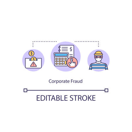 Corporate fraud concept icon. Fraudulent organization. Common corporate crime. Financial law violation idea thin line illustration. Vector isolated outline RGB color drawing. Editable stroke