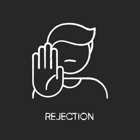 Rejection chalk white icon on black background. Negative response, denial, offer refusal. Forbiddance, displeasure and disapproval. Person showing stop gesture isolated vector chalkboard illustration