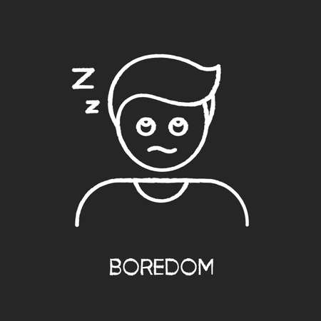 Boredom chalk white icon on black background. Exhaustion, weariness, burnout. Feeling of tedium, sleep problem, insomnia. Disinterested, bored, sleepy person isolated vector chalkboard illustration