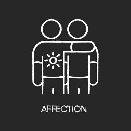 Affection chalk white icon on black background. Emotional attachment, strong friendship. Positive feelings expression, friendly relationship. Friends together isolated vector chalkboard illustration