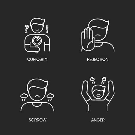 Mood and temperament chalk white icons set on black background. Good and bad emotions, different human feelings. Curiosity, rejection, sorrow and anger. Isolated vector chalkboard illustrations
