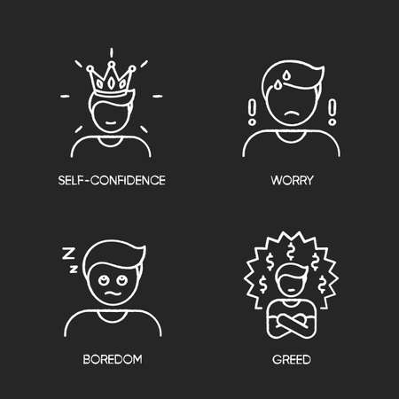 Negative emotions and bad feelings chalk white icons set on black background. Human behaviour, psychological states. Distrust, loneliness, awe and self pity. Isolated vector chalkboard illustrations Vettoriali