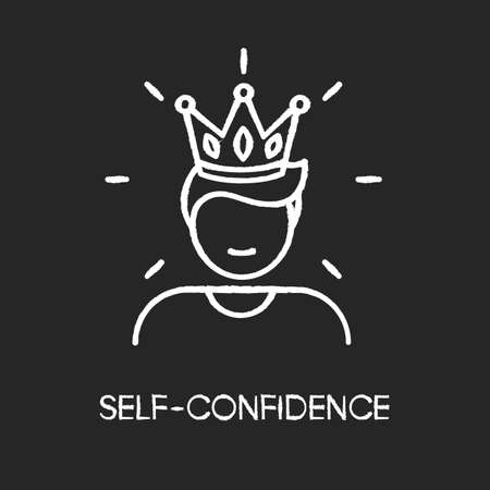 Self confidence chalk white icon on black background. Feeling of overconfidence, narcissism. Arrogant attitude. Self assured, egotistical person in crown isolated vector chalkboard illustration