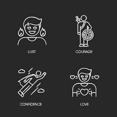 Good feelings and qualities chalk white icons set on black background. Positive mood, emotions and personality traits. Confidence, courage, lust and love. Isolated vector chalkboard illustrations